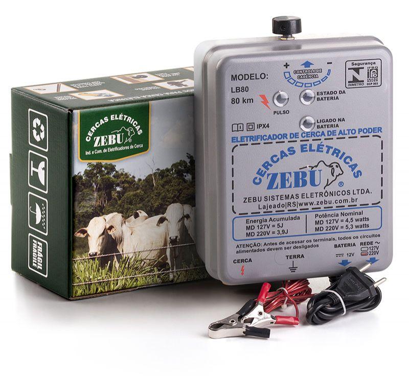 Eletrificador de Cerca Elétrica Rural Zebu LB80 80km 220V - Bateria 12V  - Curto Compras Rural