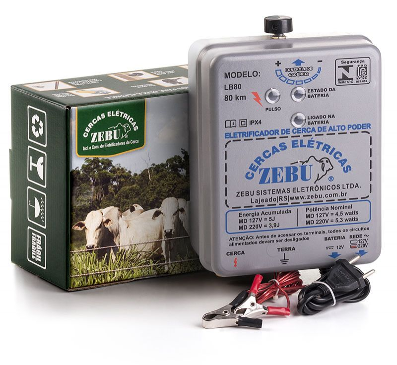 Eletrificador de Cerca Elétrica Rural Zebu LB80 80km 127V - Bateria 12V  - Curto Compras Rural