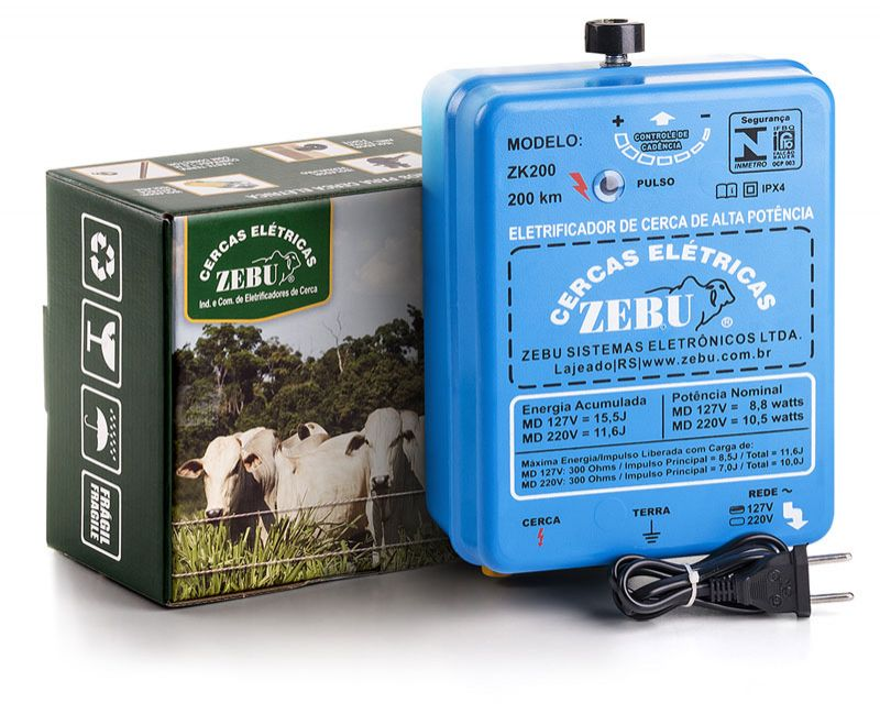 Eletrificador de Cerca Elétrica Rural Zebu ZK200 200km 127V  - Curto Compras Rural