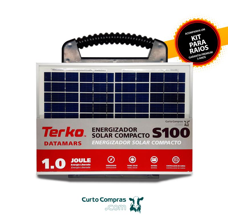Eletrificador de Cerca Rural Solar Compacto Terko S100 com Painel Solar, Bateria e Controlador de Carga  - Curto Compras Rural