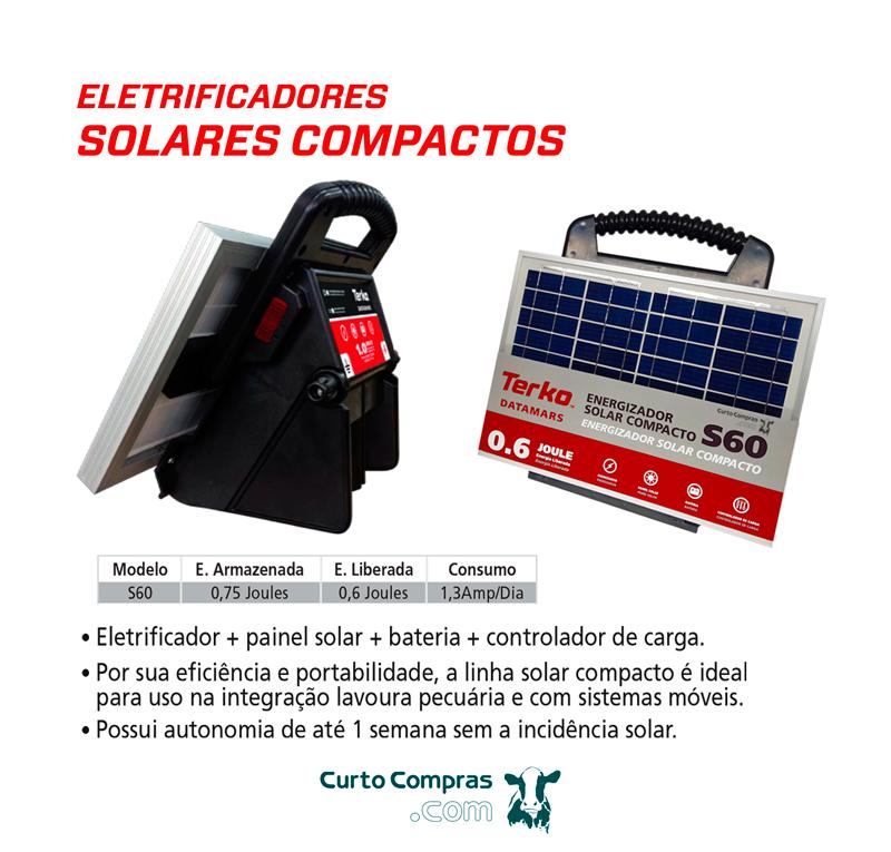 Eletrificador de Cerca Rural Solar Compacto Terko S60 com Painel Solar, Bateria e Controlador de Carga  - Curto Compras Rural
