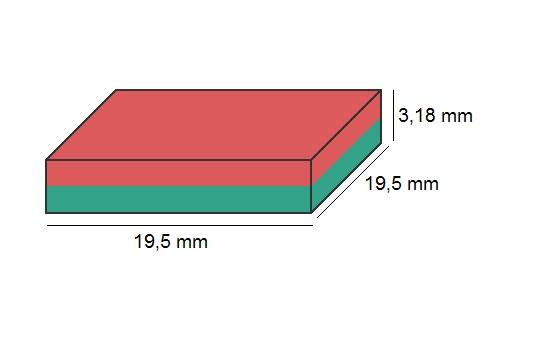 Imã de Neodímio Bloco N35 19,05x19,05x3,18 mm  - Polo Magnético