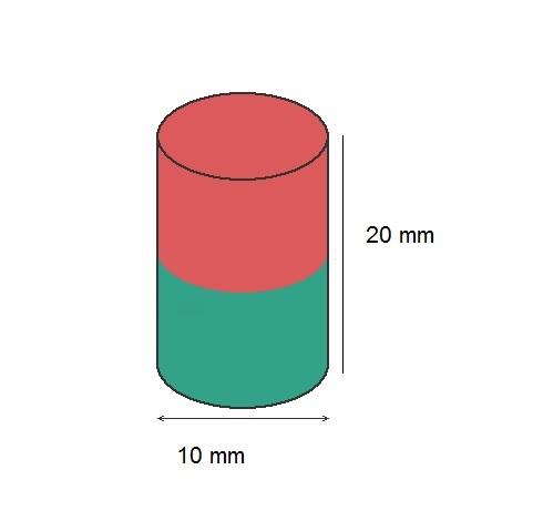 Imã de Neodímio Cilindro N35 10x20 mm  - Polo Magnético