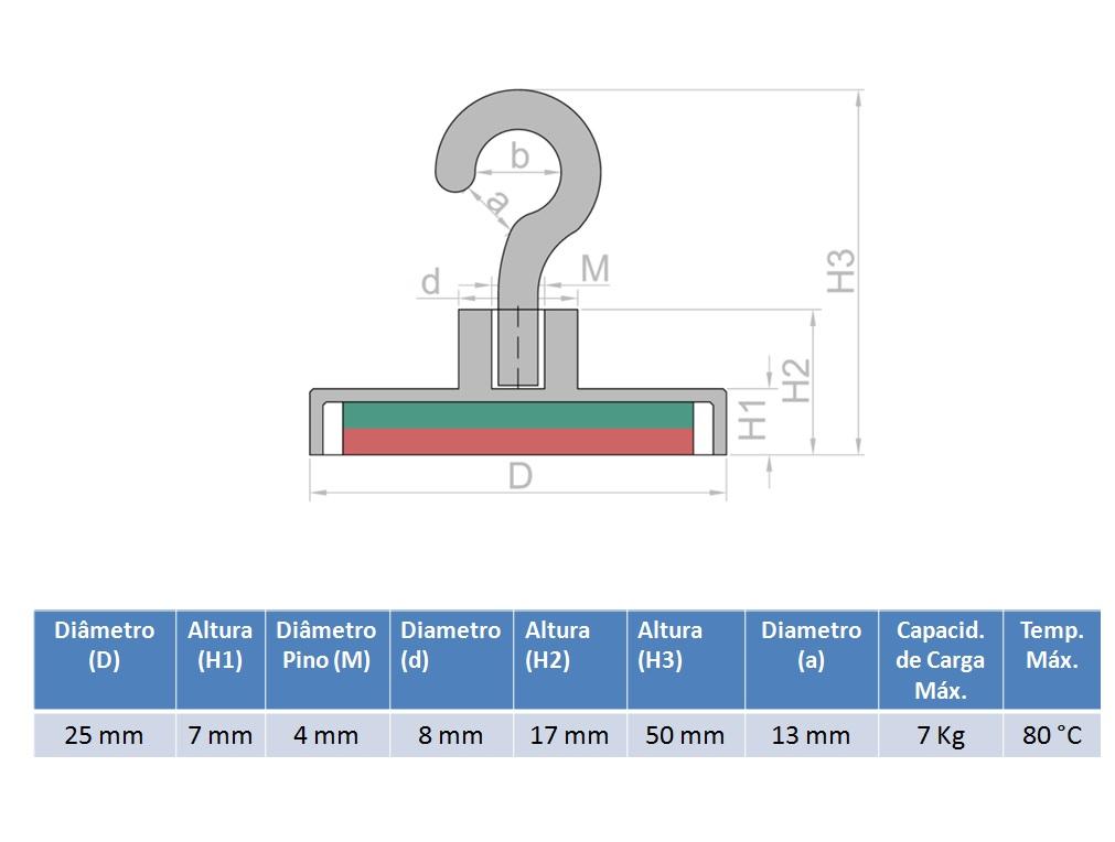 Imã de Neodímio Gancho 25 mm  - Polo Magnético