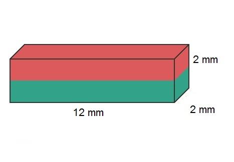 Imã de Neodímio Bloco N35 12x2x2 mm  - Polo Magnético