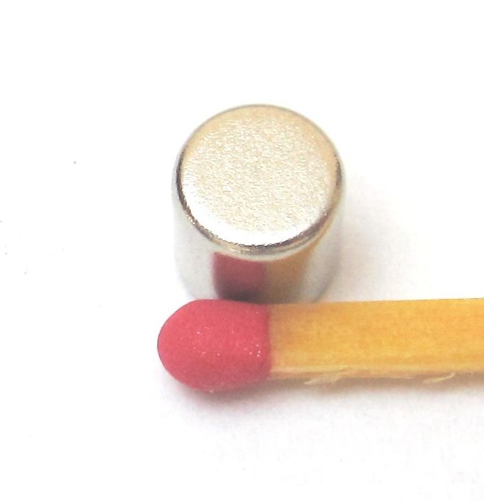 Imã de Neodímio Cilindro N35 6x6 mm  - Polo Magnético