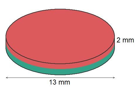 Imã de Neodímio Disco N35 13x2 mm  - Polo Magnético