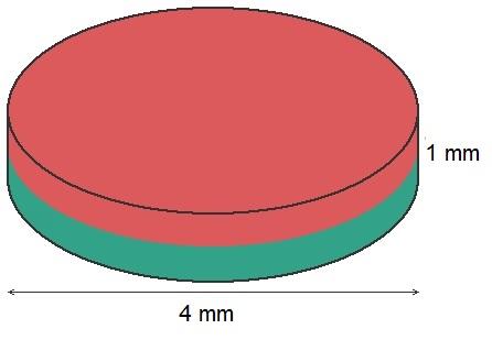 Imã de Neodímio Disco N35 4x1 mm  - Polo Magnético