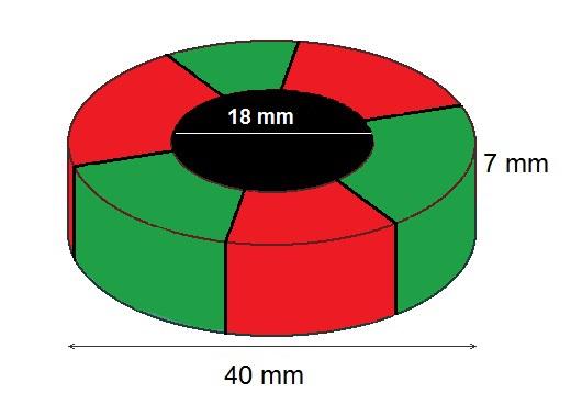 Imã de Ferrite Anel (cerâmica) Y25 40x18x7 mm com 6 polos