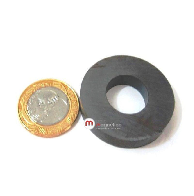 Imã de Ferrite Anel (cerâmica) Y30 40x18x7 mm  - Polo Magnético