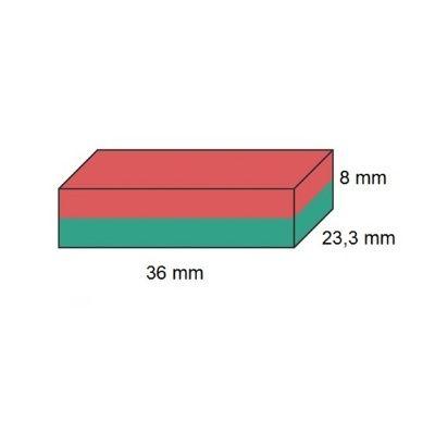 Imã de Ferrite Bloco (cerâmica) Y30 36x23,3x8 mm  - Polo Magnético