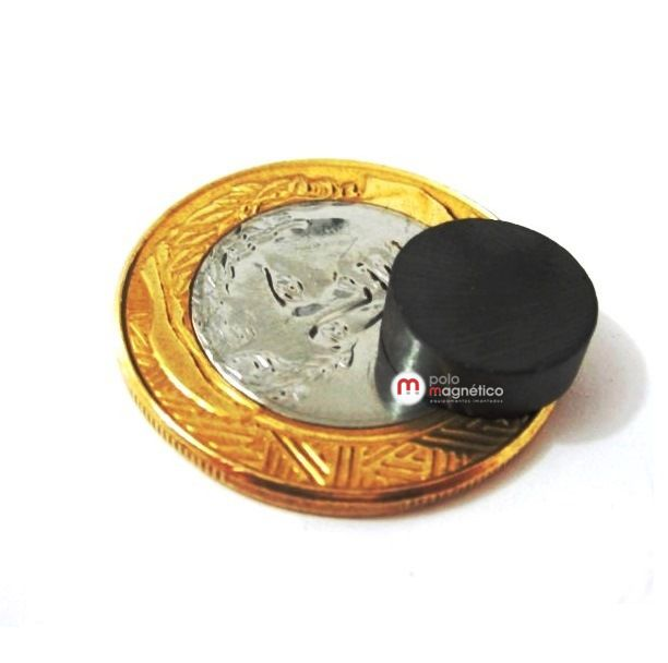 Imã de Ferrite Disco (cerâmica) Y30 12x4 mm  - Polo Magnético