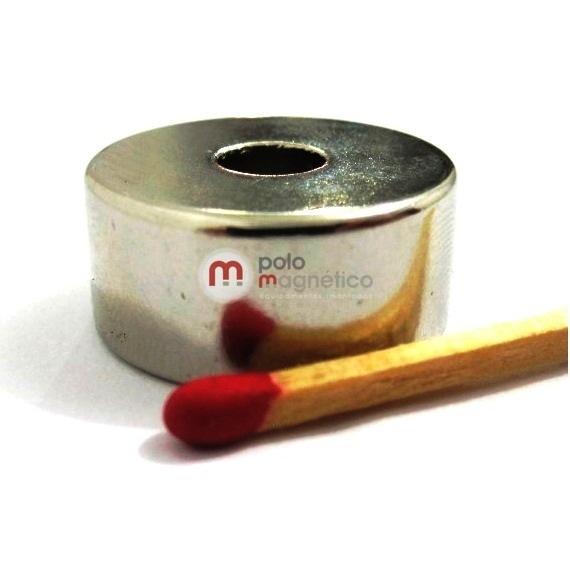 Imã de Neodímio Anel N35 22x6,35x10 mm Zinco  - Polo Magnético