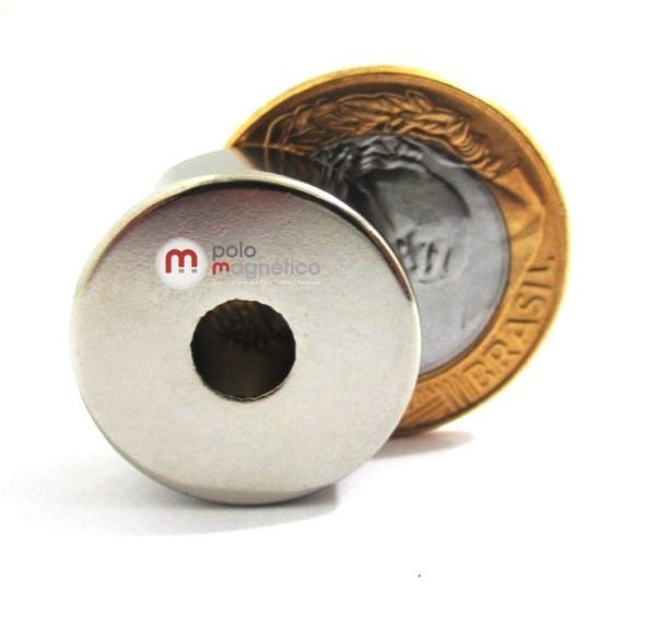 Imã de Neodímio Anel N42 22x6,35x10 mm  - Polo Magnético