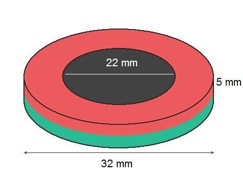 Imã de Neodímio Anel N42 32x22x5 mm  - Polo Magnético
