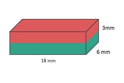 Imã de Neodímio Bloco N35 18x6x3 mm  - Polo Magnético