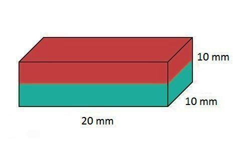 Imã de Neodímio Bloco N35 20x10x10 mm  - Polo Magnético