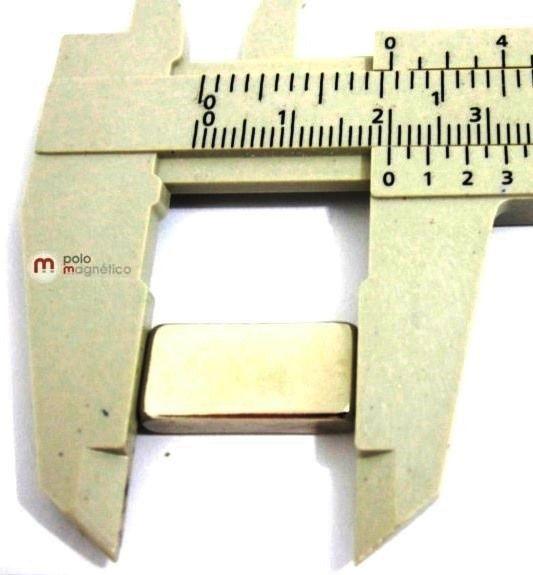 Imã de Neodímio Bloco N35 20x10x4 mm  - Polo Magnético