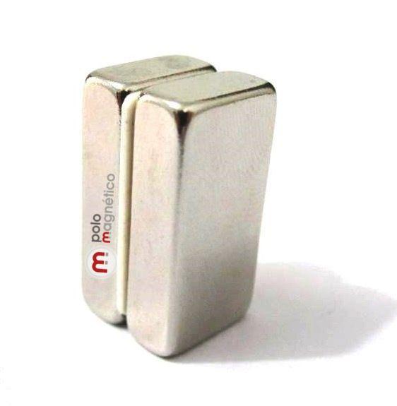 Imã de Neodímio Bloco N35 20x10x5 mm  - Polo Magnético
