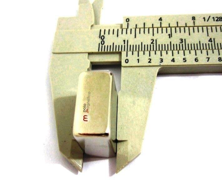 Imã de Neodímio Bloco N35 20x20x10 mm  - Polo Magnético