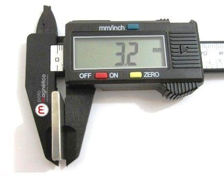 Imã de Neodímio Bloco N35 25,4x25,4x3,18 mm  - Polo Magnético