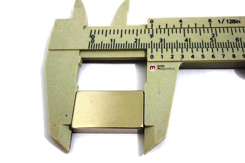 Imã de Neodímio Bloco N35 25x15x5 mm  - Polo Magnético