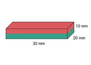 Imã de Neodímio Bloco N35 30x20x10 mm  - Polo Magnético