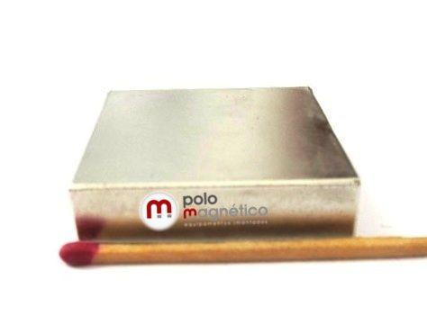 Imã de Neodímio Bloco N35 40x40x10 mm  - Polo Magnético
