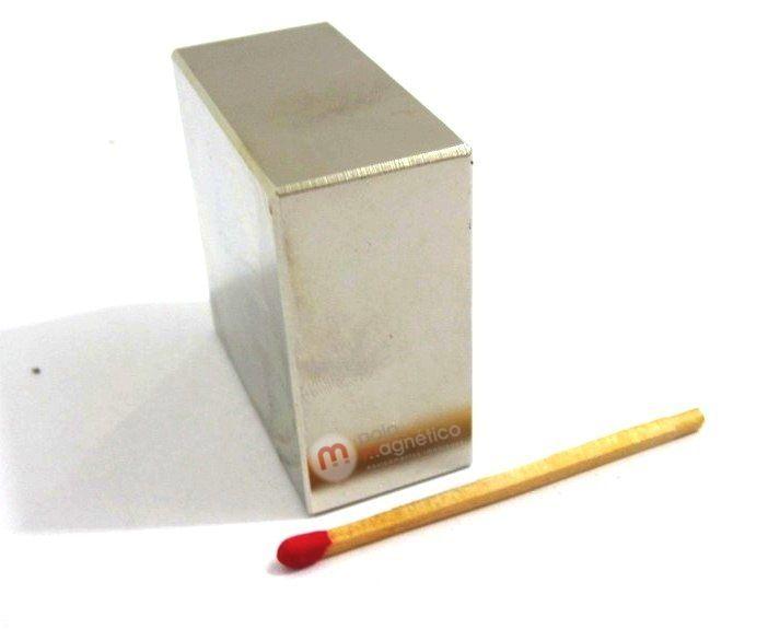 Imã de Neodímio Bloco N35 40x40x20 mm  - Polo Magnético