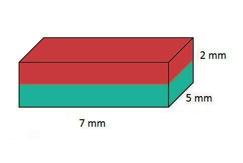 Imã de Neodímio Bloco N35 7x5x2 mm  - Polo Magnético