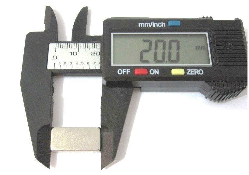 Imã de Neodímio Bloco N42 20x10x5 mm  - Polo Magnético
