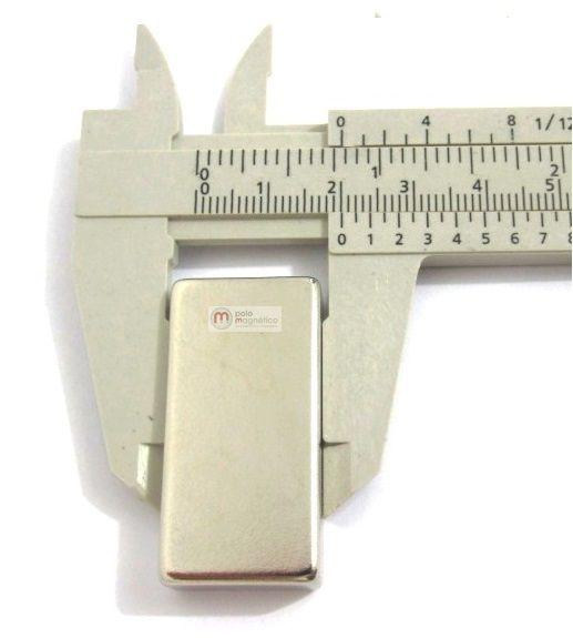 Imã de Neodímio Bloco N42 40x20x10 mm  - Polo Magnético