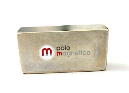 "Imã de Neodímio Bloco N50 2x1x1/2"" ou 50,8X25,4X12,7 mm  - Polo Magnético"