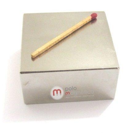 "Imã de Neodímio Bloco N50 2x2x1"" ou 50,8x50,8x25,4 mm  - Polo Magnético"