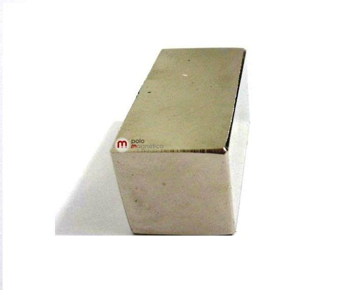 Imã de Neodímio Bloco N52 40x20x20 mm  - Polo Magnético