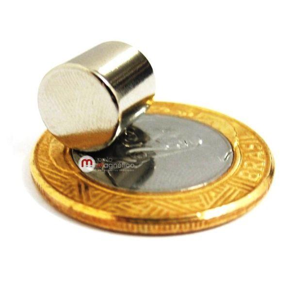 Imã de Neodímio Cilindro N35 10x10 mm  - Polo Magnético