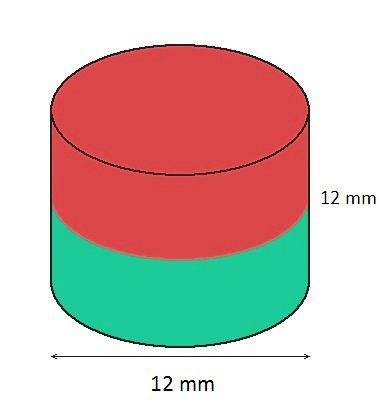 Imã de Neodímio Cilindro N35 12x12 mm  - Polo Magnético