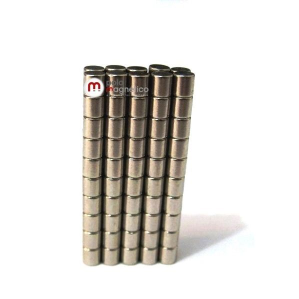 Imã de Neodímio Cilindro N35 2x2 mm  - Polo Magnético