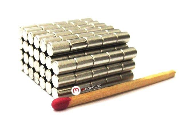 Imã de Neodímio Cilindro N35 4x6 mm  - Polo Magnético