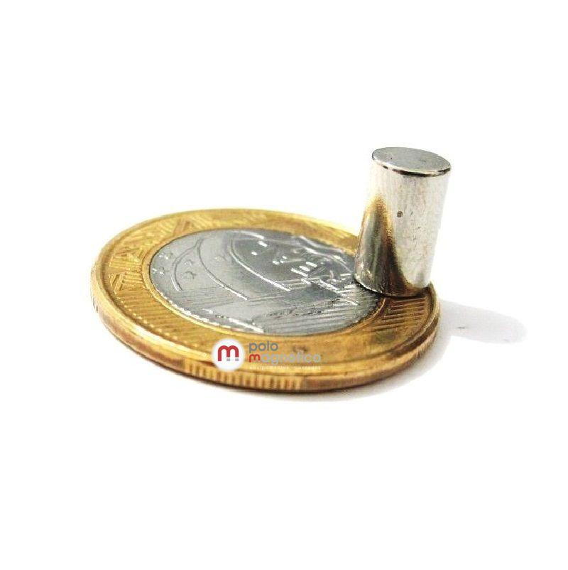Imã de Neodímio Cilindro N35 6x10 mm  - Polo Magnético
