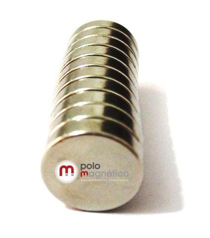 Imã de Neodímio Disco N35 12x3 mm  - Polo Magnético