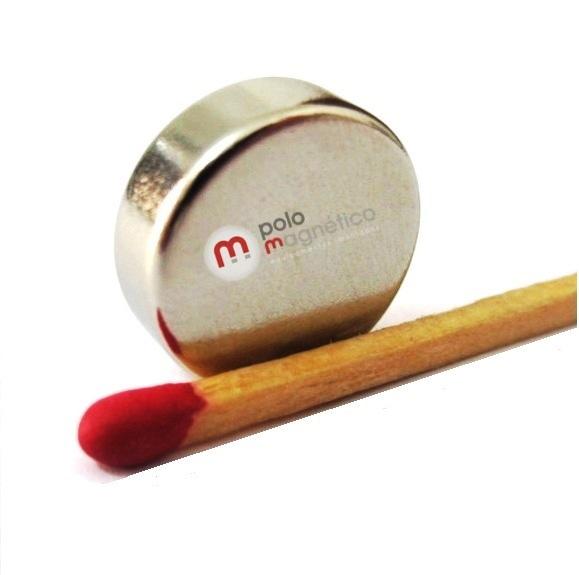 Ímã de Neodímio Disco N35 15x6 mm  - Polo Magnético