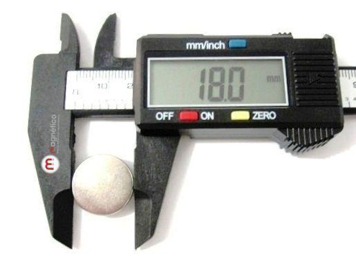 Imã de Neodímio Disco N35 18x3 mm  - Polo Magnético