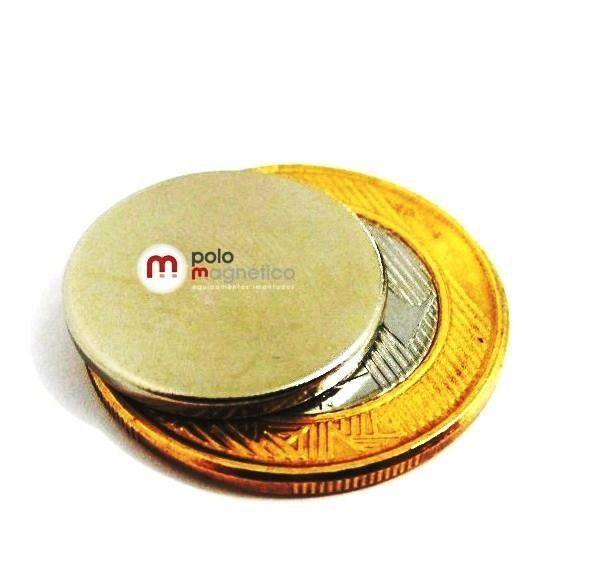 Imã de Neodímio Disco N35 20x2 mm 50 peças  - Polo Magnético