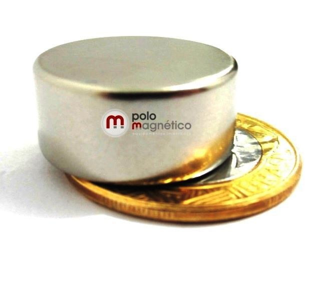 Imã de Neodímio Disco N35 22x10 mm  - Polo Magnético