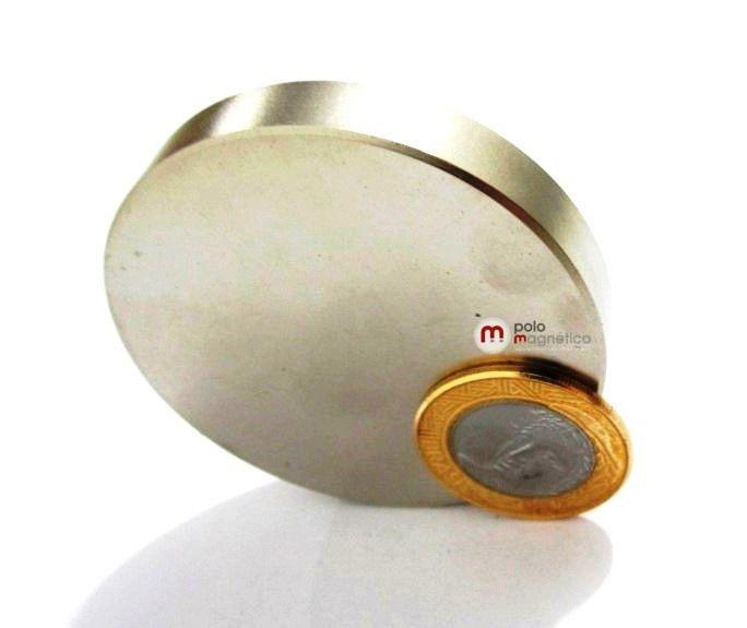 297efdb7013 ... Imã de Neodímio Disco N35 60x10 mm - Polo Magnético ...