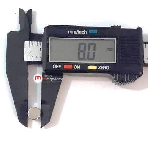 Imã de Neodímio Disco N35 8x4 mm  - Polo Magnético
