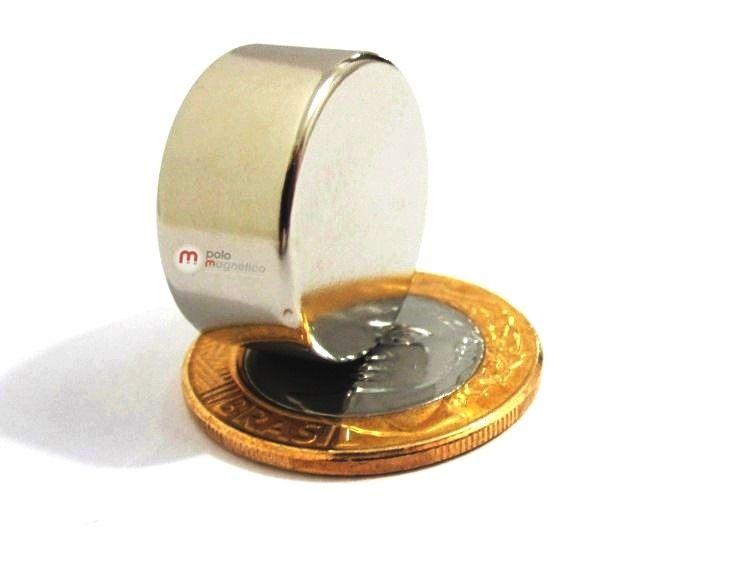 Imã de Neodímio Disco N42 22x10 mm  - Polo Magnético