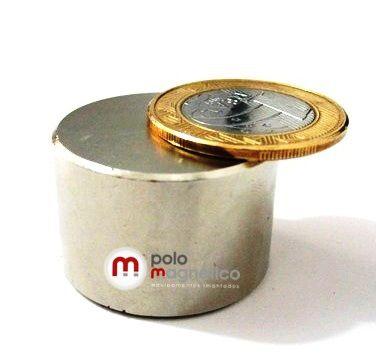 Imã de Neodímio Disco N42 30x20 mm  - Polo Magnético