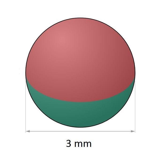 Imã de Neodímio Esfera N35 3 mm  - Polo Magnético